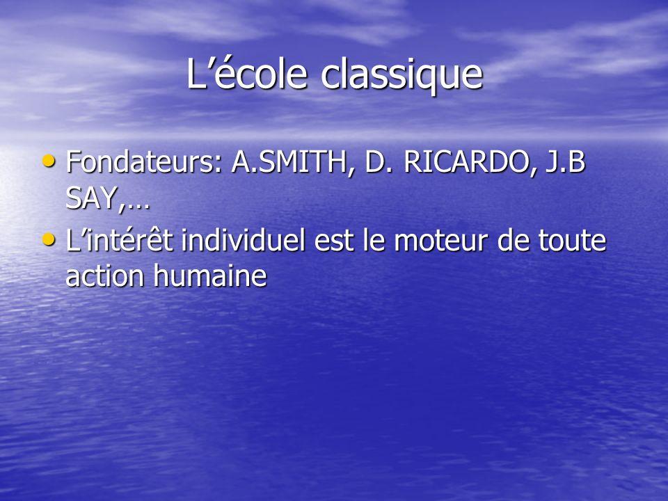 Lécole classique Fondateurs: A.SMITH, D. RICARDO, J.B SAY,… Fondateurs: A.SMITH, D. RICARDO, J.B SAY,… Lintérêt individuel est le moteur de toute acti