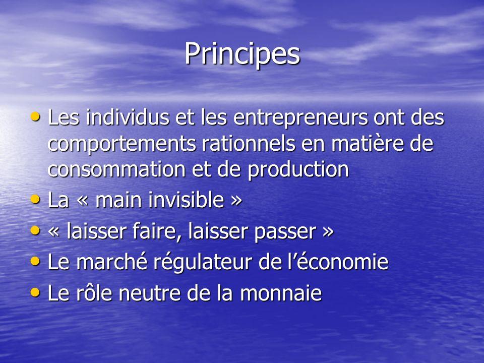 Principes Les individus et les entrepreneurs ont des comportements rationnels en matière de consommation et de production Les individus et les entrepr