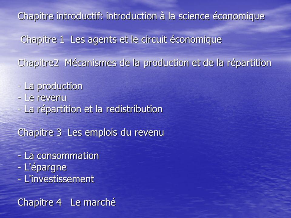 Chapitre introductif: introduction à la science économique Chapitre 1 Les agents et le circuit économique Chapitre 1 Les agents et le circuit économiq