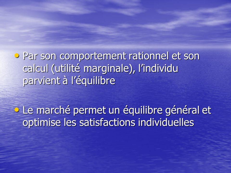 Par son comportement rationnel et son calcul (utilité marginale), lindividu parvient à léquilibre Par son comportement rationnel et son calcul (utilit