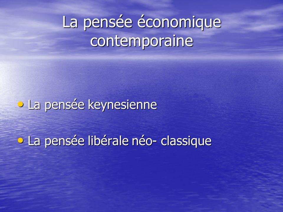 La pensée économique contemporaine La pensée keynesienne La pensée keynesienne La pensée libérale néo- classique La pensée libérale néo- classique