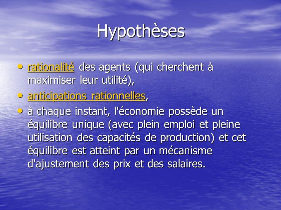 Hypothèses rationalité des agents (qui cherchent à maximiser leur utilité), rationalité des agents (qui cherchent à maximiser leur utilité), rationali