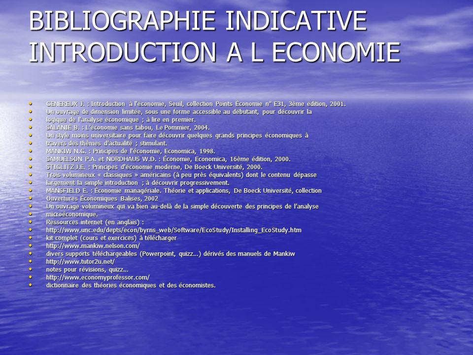BIBLIOGRAPHIE INDICATIVE INTRODUCTION A L ECONOMIE GENEREUX J. : Introduction à l'économie, Seuil, collection Points Économie n° E31, 3ème édition, 20