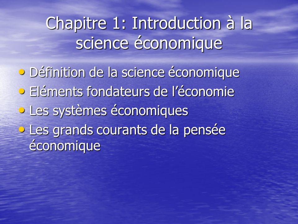 Chapitre 1: Introduction à la science économique Définition de la science économique Définition de la science économique Eléments fondateurs de lécono