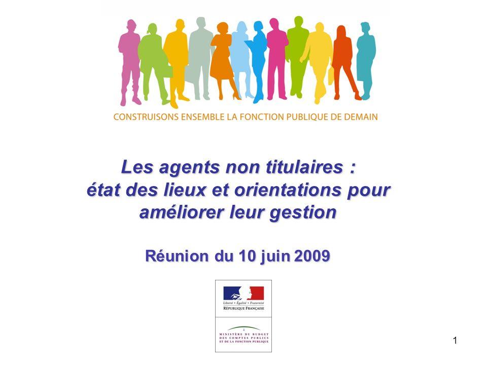 1 Les agents non titulaires : état des lieux et orientations pour améliorer leur gestion Réunion du 10 juin 2009