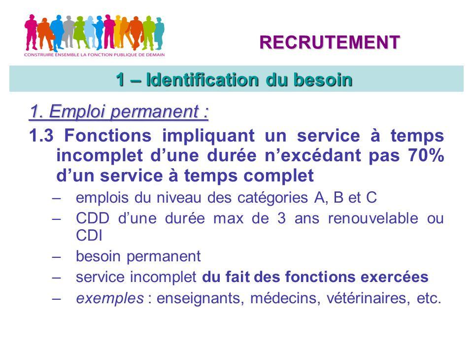 1. Emploi permanent : 1.3 Fonctions impliquant un service à temps incomplet dune durée nexcédant pas 70% dun service à temps complet –emplois du nivea