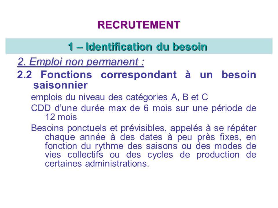 2. Emploi non permanent : 2.2 Fonctions correspondant à un besoin saisonnier emplois du niveau des catégories A, B et C CDD dune durée max de 6 mois s