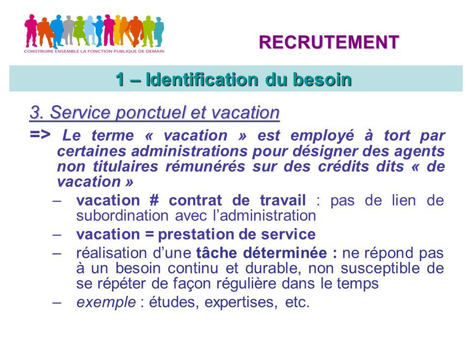 3. Service ponctuel et vacation => Le terme « vacation » est employé à tort par certaines administrations pour désigner des agents non titulaires rému