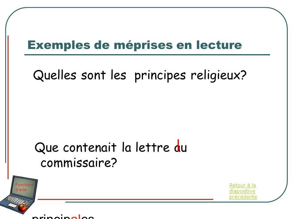 Fonctions daide Exemples de méprises en lecture Quelles sont les principes religieux? Que contenait la lettre au commissaire? principales religions Re