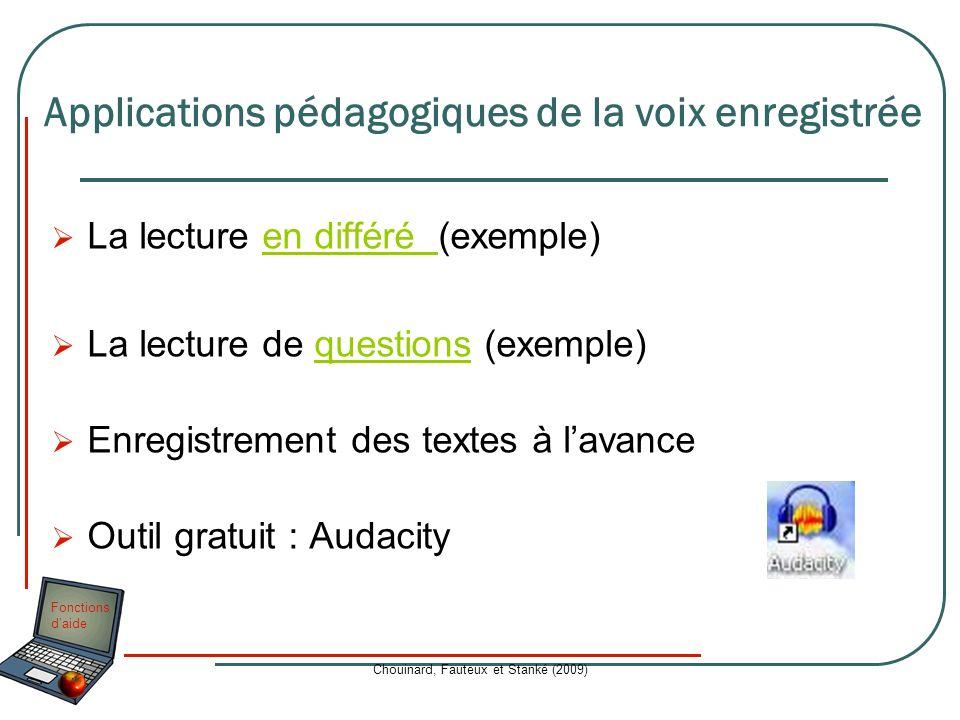 Fonctions daide Chouinard, Fauteux et Stanké (2009) La lecture en différé (exemple)en différé La lecture de questions (exemple)questions Enregistremen