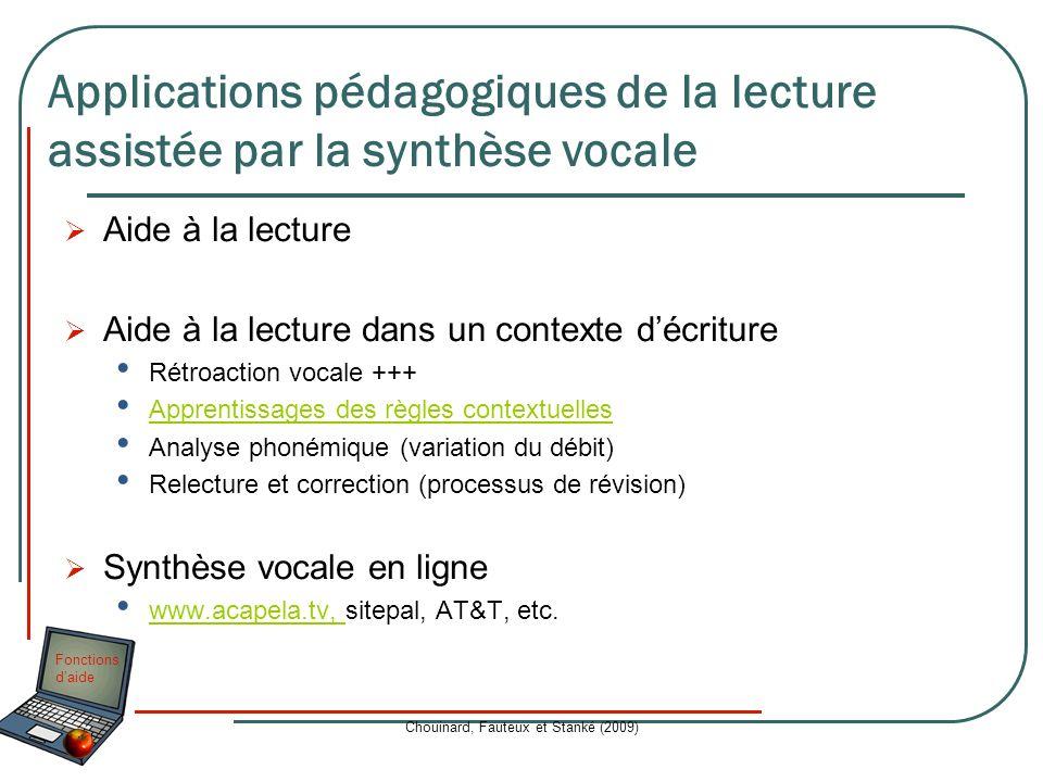 Fonctions daide Chouinard, Fauteux et Stanké (2009) Aide à la lecture Aide à la lecture dans un contexte décriture Rétroaction vocale +++ Apprentissag