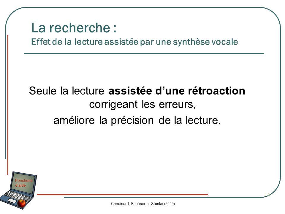Fonctions daide Chouinard, Fauteux et Stanké (2009) 19 La recherche : Effet de la lecture assistée par une synthèse vocale Seule la lecture assistée d