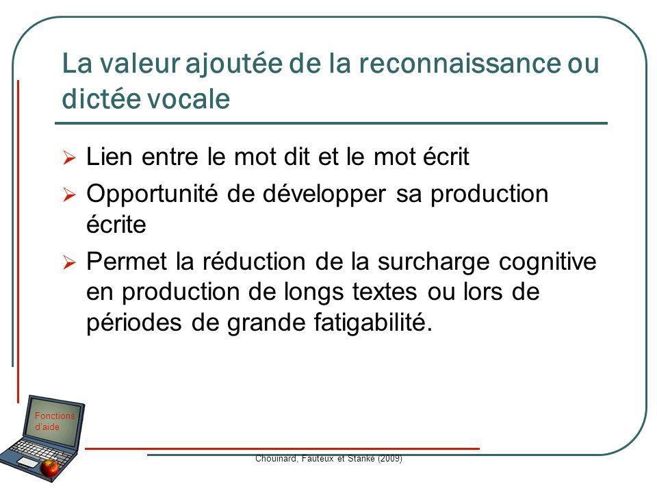 Fonctions daide Chouinard, Fauteux et Stanké (2009) La valeur ajoutée de la reconnaissance ou dictée vocale Lien entre le mot dit et le mot écrit Oppo