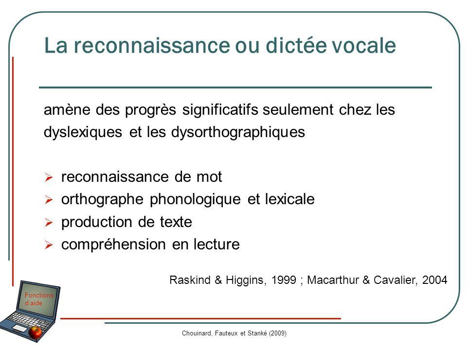 Fonctions daide Chouinard, Fauteux et Stanké (2009) La reconnaissance ou dictée vocale amène des progrès significatifs seulement chez les dyslexiques