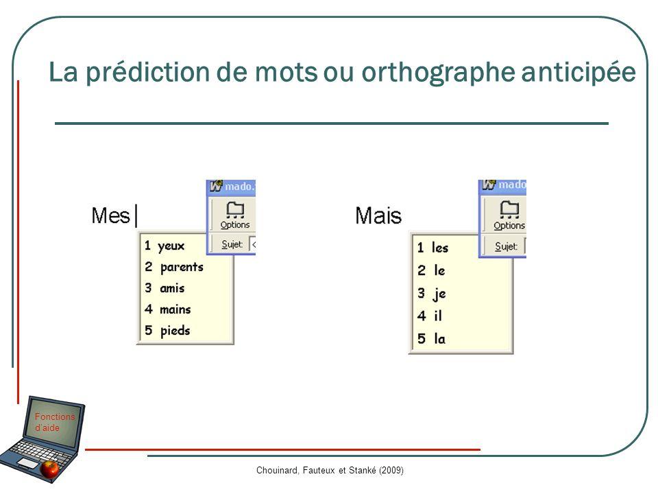 Fonctions daide Chouinard, Fauteux et Stanké (2009) La prédiction de mots ou orthographe anticipée
