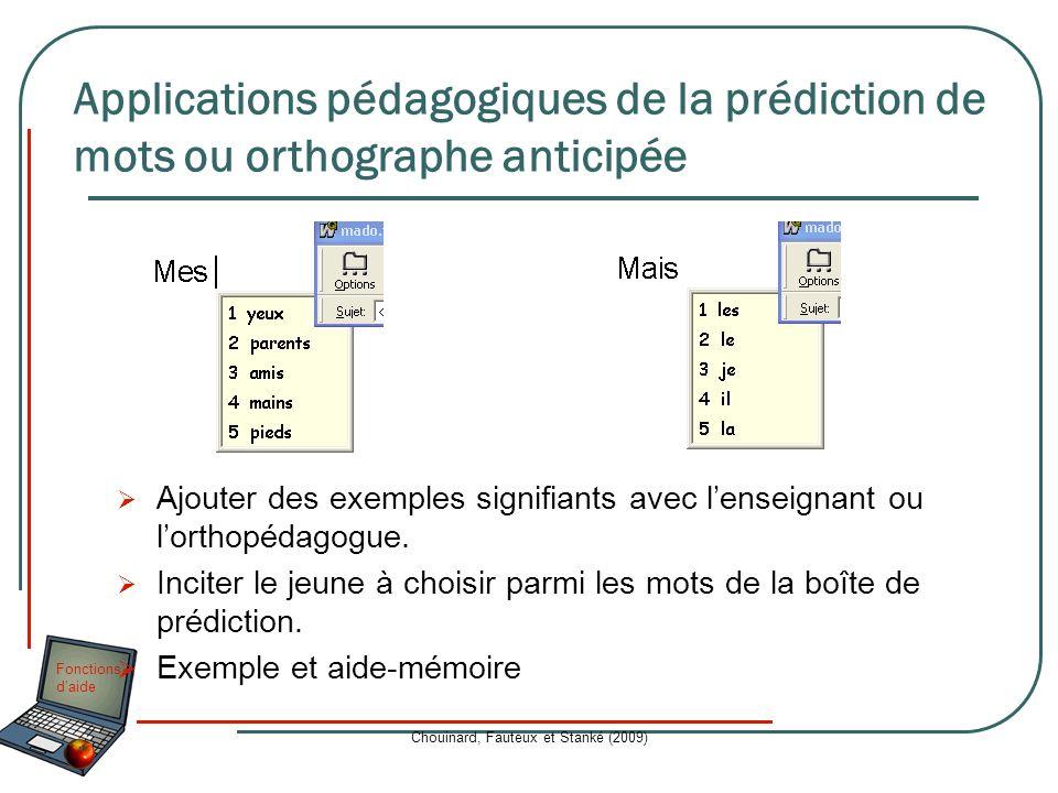 Fonctions daide Chouinard, Fauteux et Stanké (2009) Ajouter des exemples signifiants avec lenseignant ou lorthopédagogue. Inciter le jeune à choisir p
