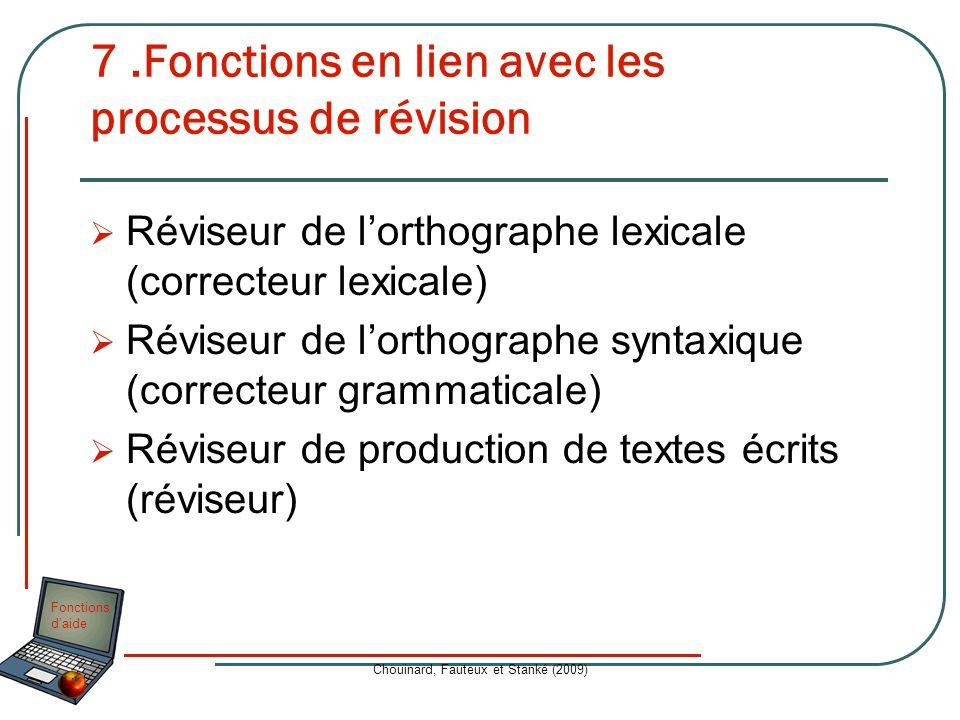 Fonctions daide Chouinard, Fauteux et Stanké (2009) 7.Fonctions en lien avec les processus de révision Réviseur de lorthographe lexicale (correcteur l