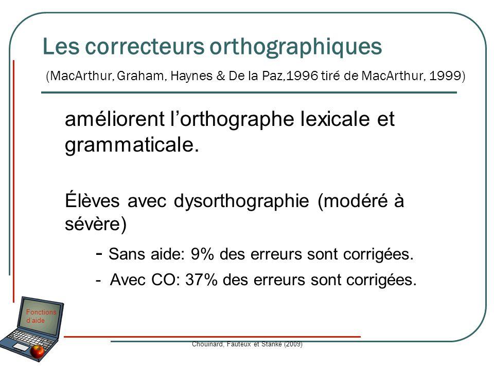 Fonctions daide Chouinard, Fauteux et Stanké (2009) Les correcteurs orthographiques améliorent lorthographe lexicale et grammaticale. Élèves avec dyso