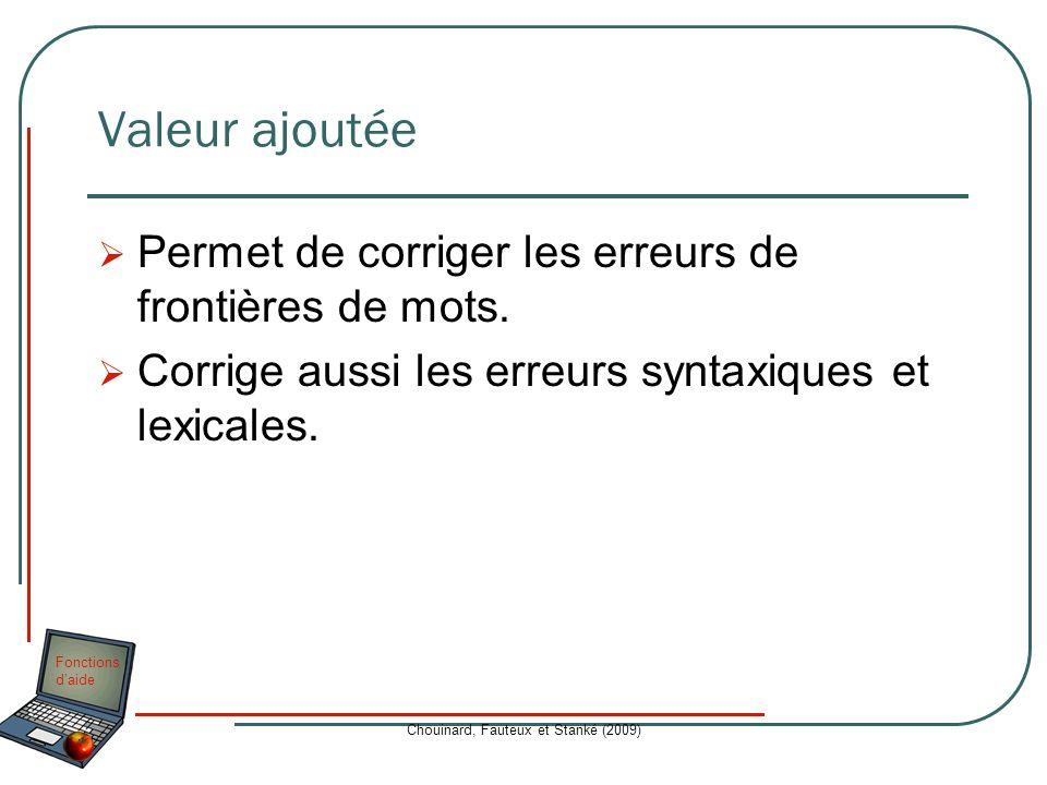 Fonctions daide Chouinard, Fauteux et Stanké (2009) Valeur ajoutée Permet de corriger les erreurs de frontières de mots. Corrige aussi les erreurs syn