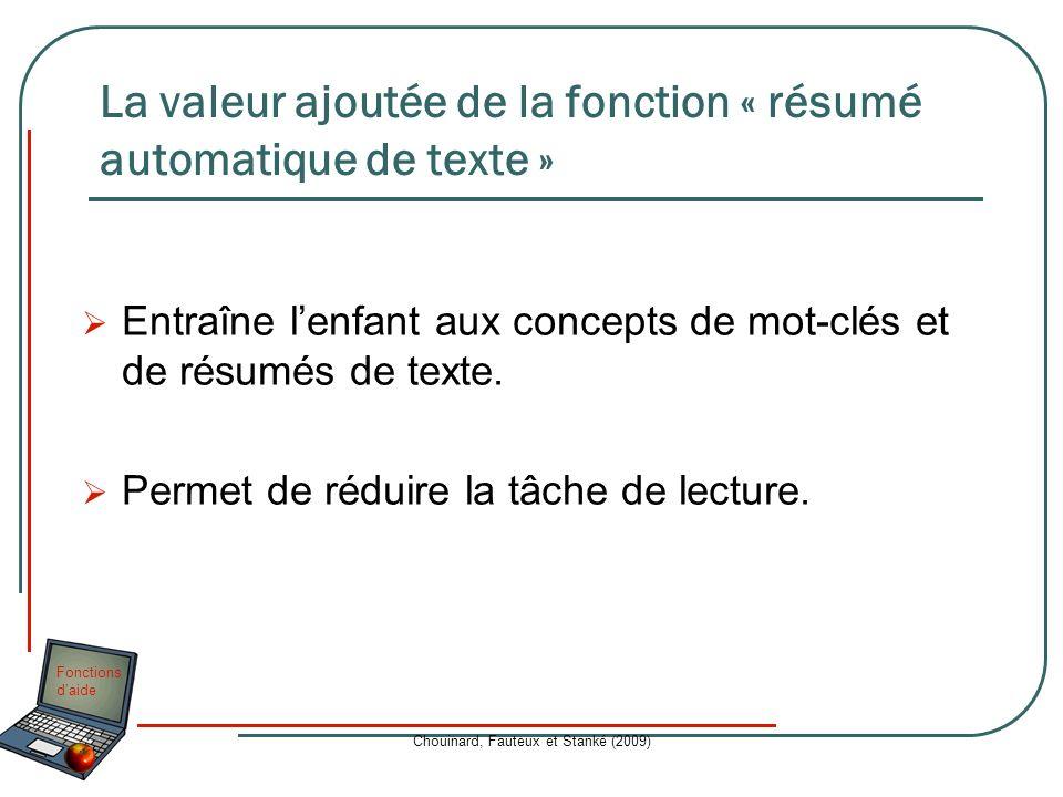 Fonctions daide Chouinard, Fauteux et Stanké (2009) La valeur ajoutée de la fonction « résumé automatique de texte » Entraîne lenfant aux concepts de
