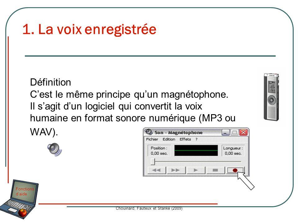 Fonctions daide Chouinard, Fauteux et Stanké (2009) 1. La voix enregistrée Définition Cest le même principe quun magnétophone. Il sagit dun logiciel q