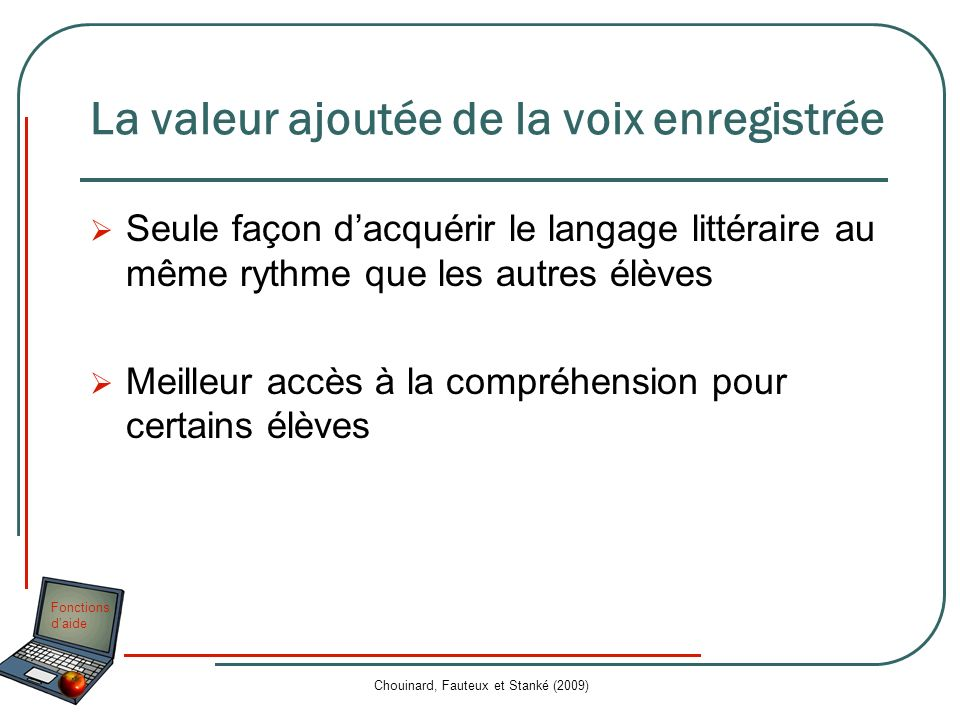 Fonctions daide Chouinard, Fauteux et Stanké (2009) La valeur ajoutée de la voix enregistrée Seule façon dacquérir le langage littéraire au même rythm