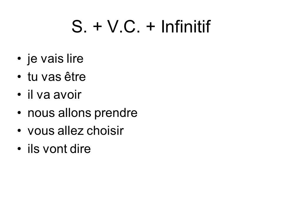 S. + V.C. + Infinitif je vais lire tu vas être il va avoir nous allons prendre vous allez choisir ils vont dire