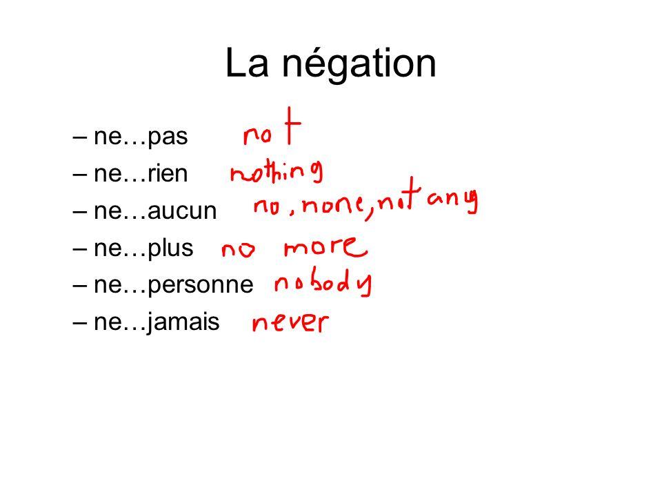 La négation –ne…pas –ne…rien –ne…aucun –ne…plus –ne…personne –ne…jamais