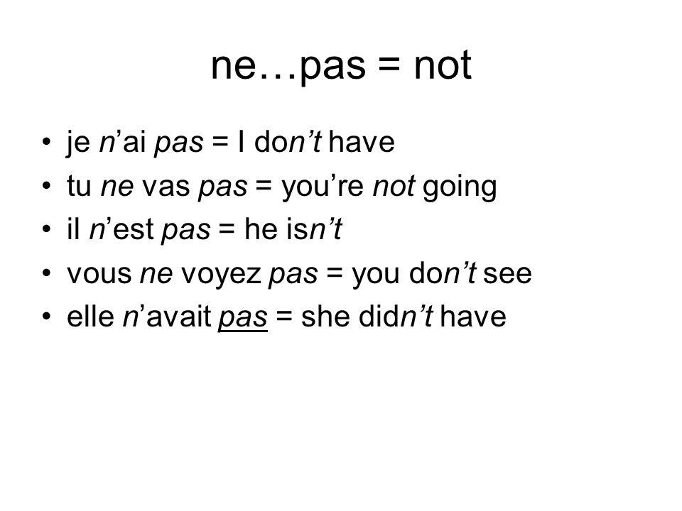 ne…pas = not je nai pas = I dont have tu ne vas pas = youre not going il nest pas = he isnt vous ne voyez pas = you dont see elle navait pas = she did