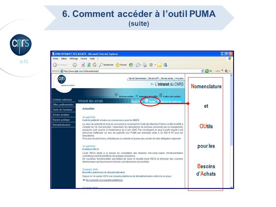 p.11 N omenclature et OU tils pour les B esoins d A chats 6. Comment accéder à loutil PUMA (suite)
