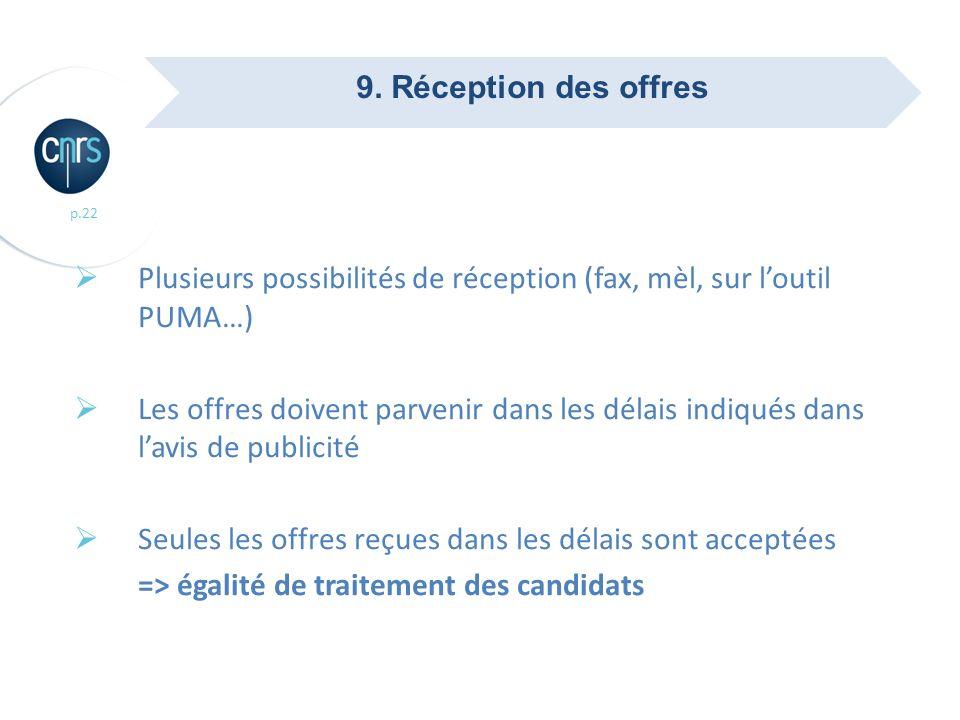p.22 Plusieurs possibilités de réception (fax, mèl, sur loutil PUMA…) Les offres doivent parvenir dans les délais indiqués dans lavis de publicité Seu