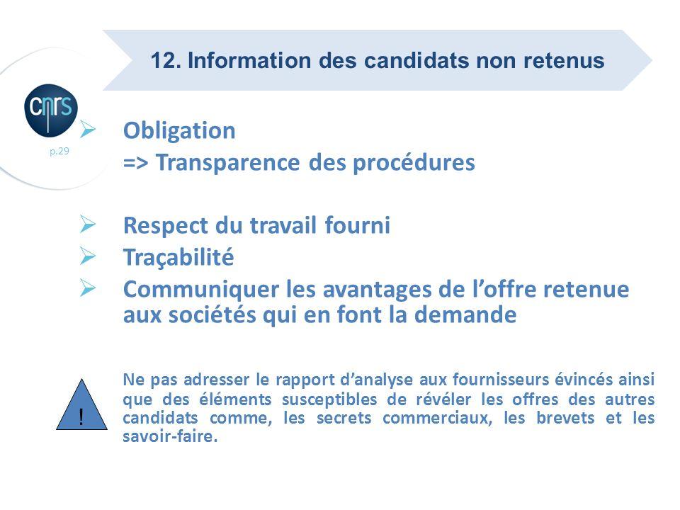 p.29 Obligation => Transparence des procédures Respect du travail fourni Traçabilité Communiquer les avantages de loffre retenue aux sociétés qui en f