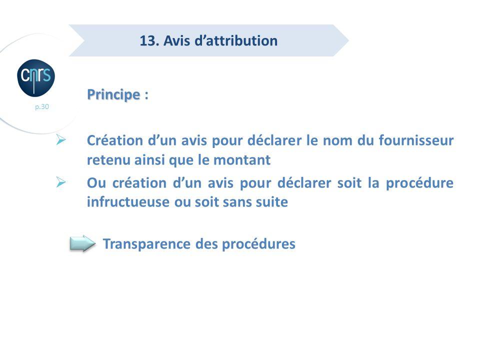 p.30 Principe Principe : Création dun avis pour déclarer le nom du fournisseur retenu ainsi que le montant Ou création dun avis pour déclarer soit la