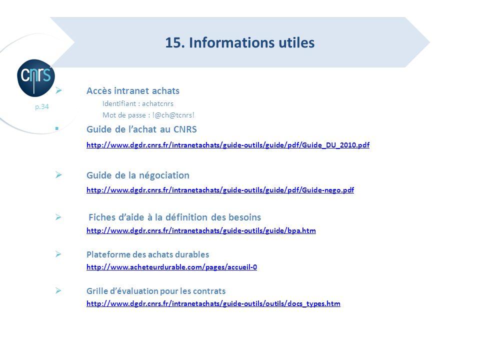 p.34 Accès intranet achats Identifiant : achatcnrs Mot de passe : !@ch@tcnrs! Guide de lachat au CNRS http://www.dgdr.cnrs.fr/intranetachats/guide-out