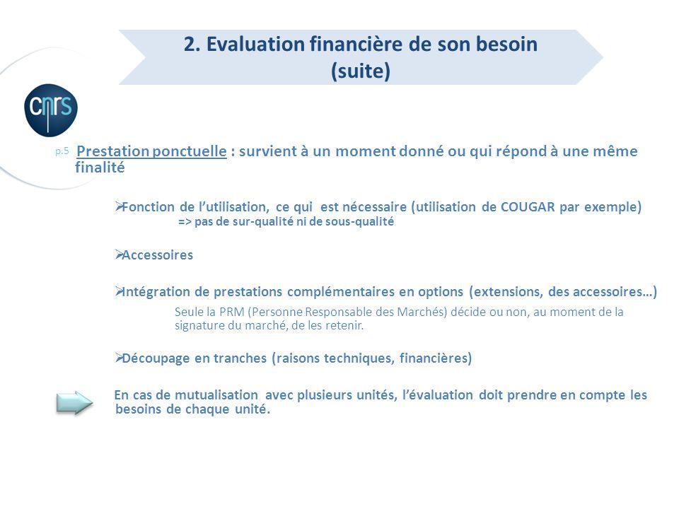 p.5 Prestation ponctuelle : survient à un moment donné ou qui répond à une même finalité Fonction de lutilisation, ce qui est nécessaire (utilisation