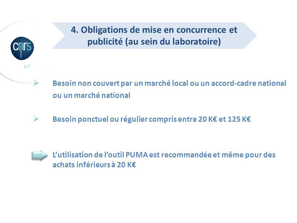 p.7 Besoin non couvert par un marché local ou un accord-cadre national ou un marché national Besoin ponctuel ou régulier compris entre 20 K et 125 K L