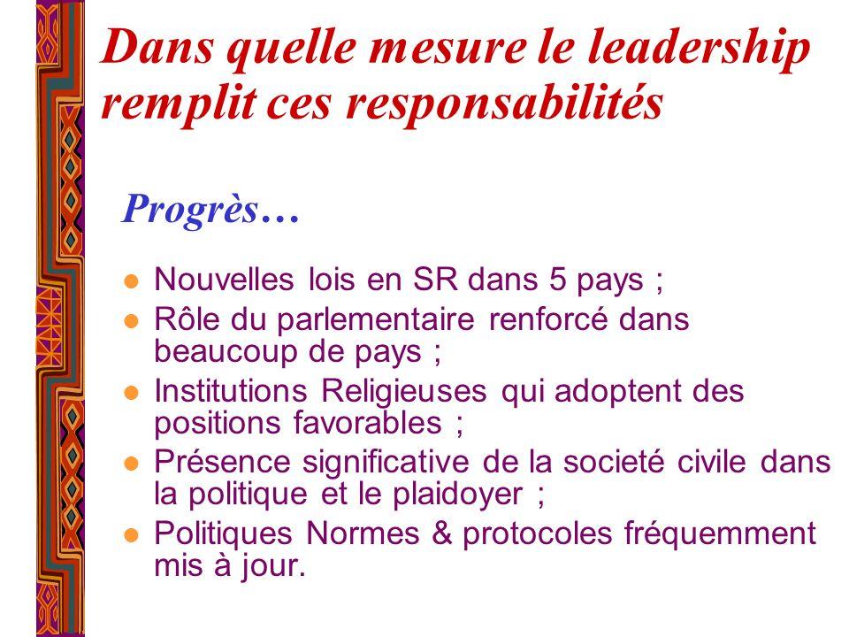 Dans quelle mesure le leadership remplit ces responsabilités l Nouvelles lois en SR dans 5 pays ; l Rôle du parlementaire renforcé dans beaucoup de pa