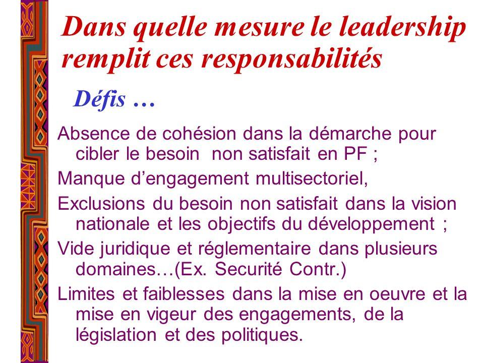 Dans quelle mesure le leadership remplit ces responsabilités Absence de cohésion dans la démarche pour cibler le besoin non satisfait en PF ; Manque d