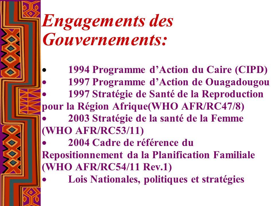 Engagements des Gouvernements: 1994 Programme dAction du Caire (CIPD) 1997 Programme dAction de Ouagadougou 1997 Stratégie de Santé de la Reproduction