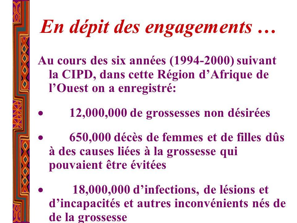 En dépit des engagements … Au cours des six années (1994-2000) suivant la CIPD, dans cette Région dAfrique de lOuest on a enregistré: 12,000,000 de gr