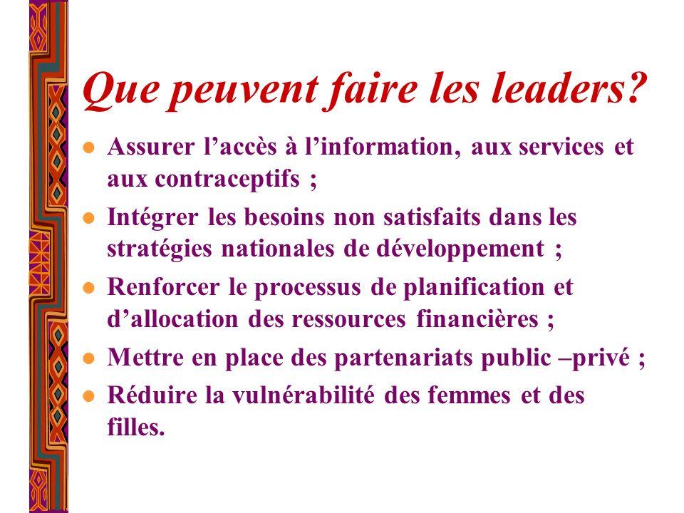 Que peuvent faire les leaders? l Assurer laccès à linformation, aux services et aux contraceptifs ; l Intégrer les besoins non satisfaits dans les str
