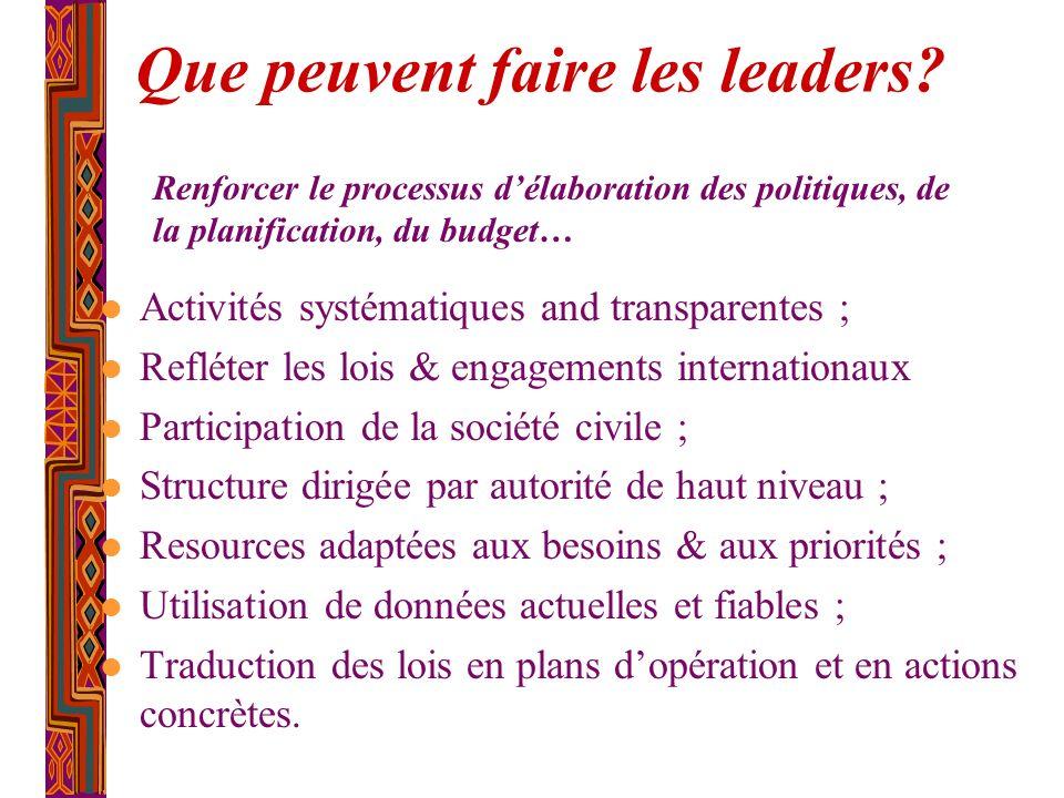 Que peuvent faire les leaders? l Activités systématiques and transparentes ; l Refléter les lois & engagements internationaux l Participation de la so