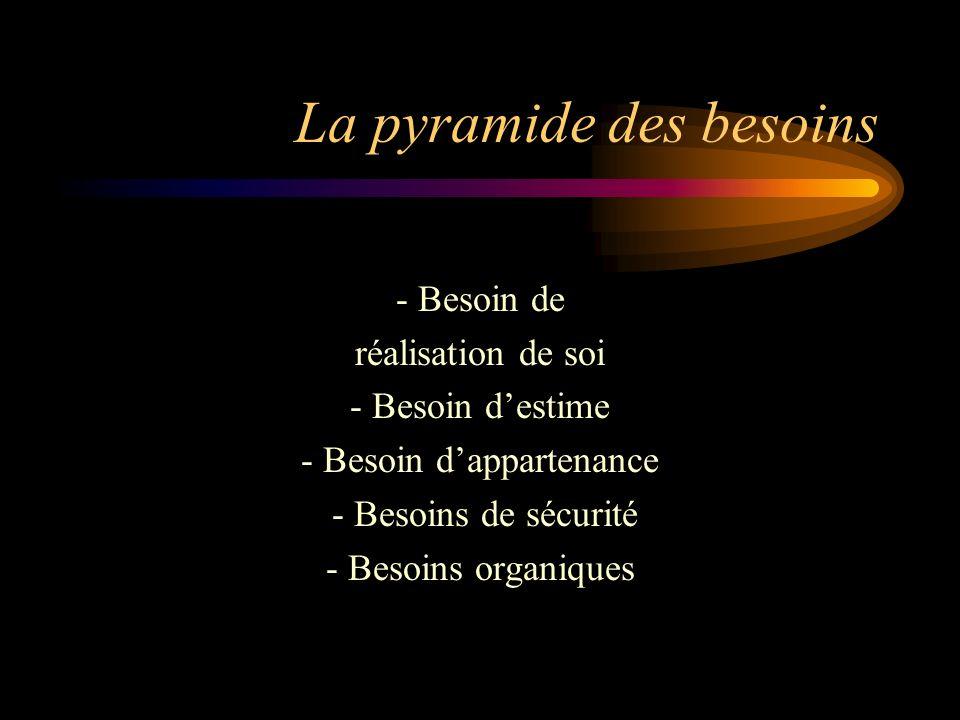 La pyramide des besoins - Besoin de réalisation de soi - Besoin destime - Besoin dappartenance - Besoins de sécurité - Besoins organiques