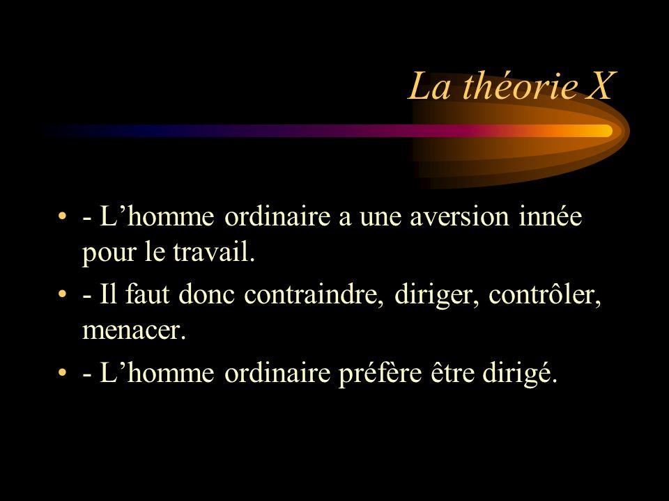 La théorie X - Lhomme ordinaire a une aversion innée pour le travail. - Il faut donc contraindre, diriger, contrôler, menacer. - Lhomme ordinaire préf