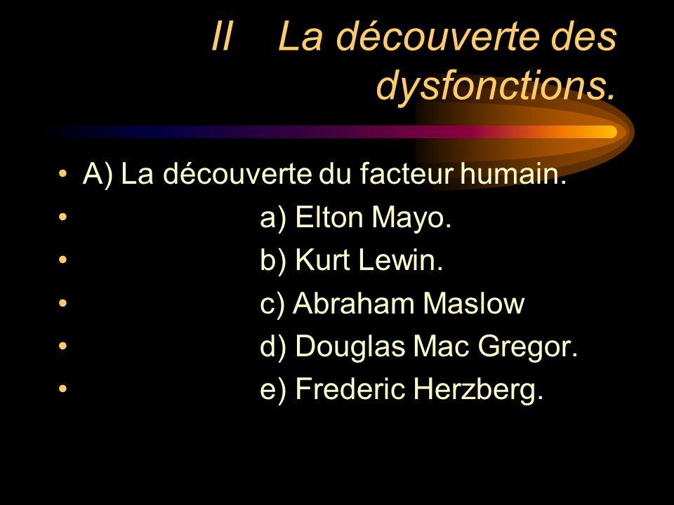 IILa découverte des dysfonctions. A) La découverte du facteur humain. a) Elton Mayo. b) Kurt Lewin. c) Abraham Maslow d) Douglas Mac Gregor. e) Freder