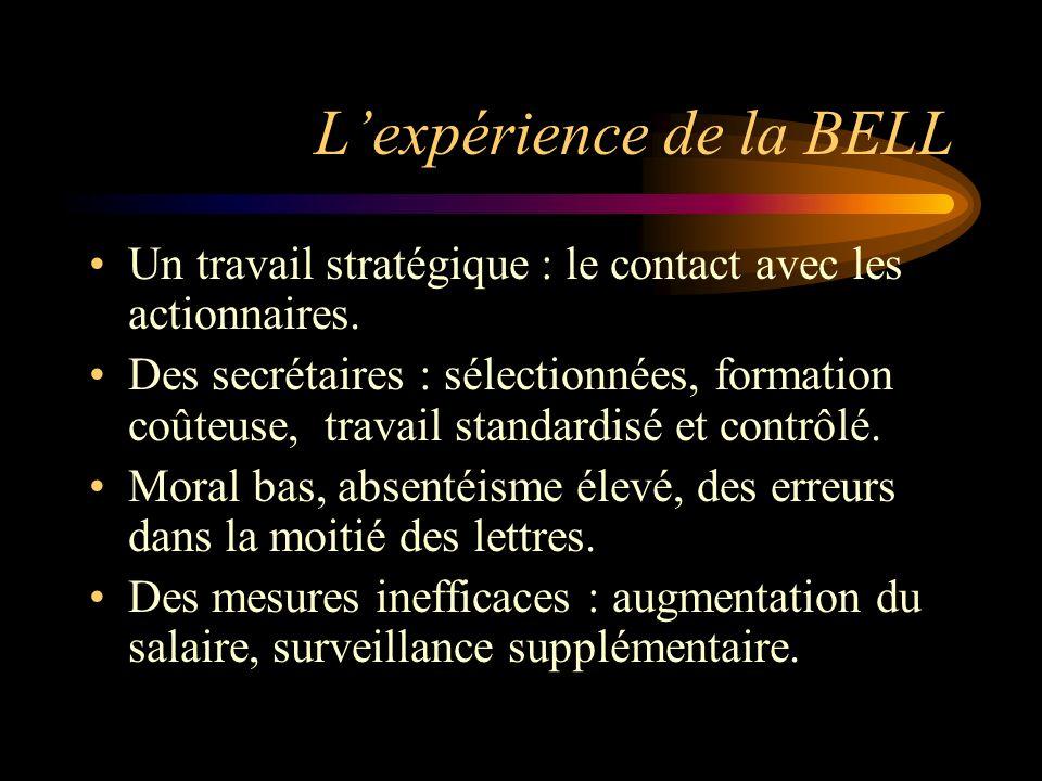 Lexpérience de la BELL Un travail stratégique : le contact avec les actionnaires. Des secrétaires : sélectionnées, formation coûteuse, travail standar