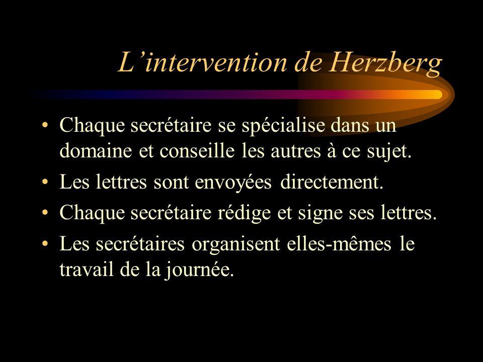 Lintervention de Herzberg Chaque secrétaire se spécialise dans un domaine et conseille les autres à ce sujet. Les lettres sont envoyées directement. C
