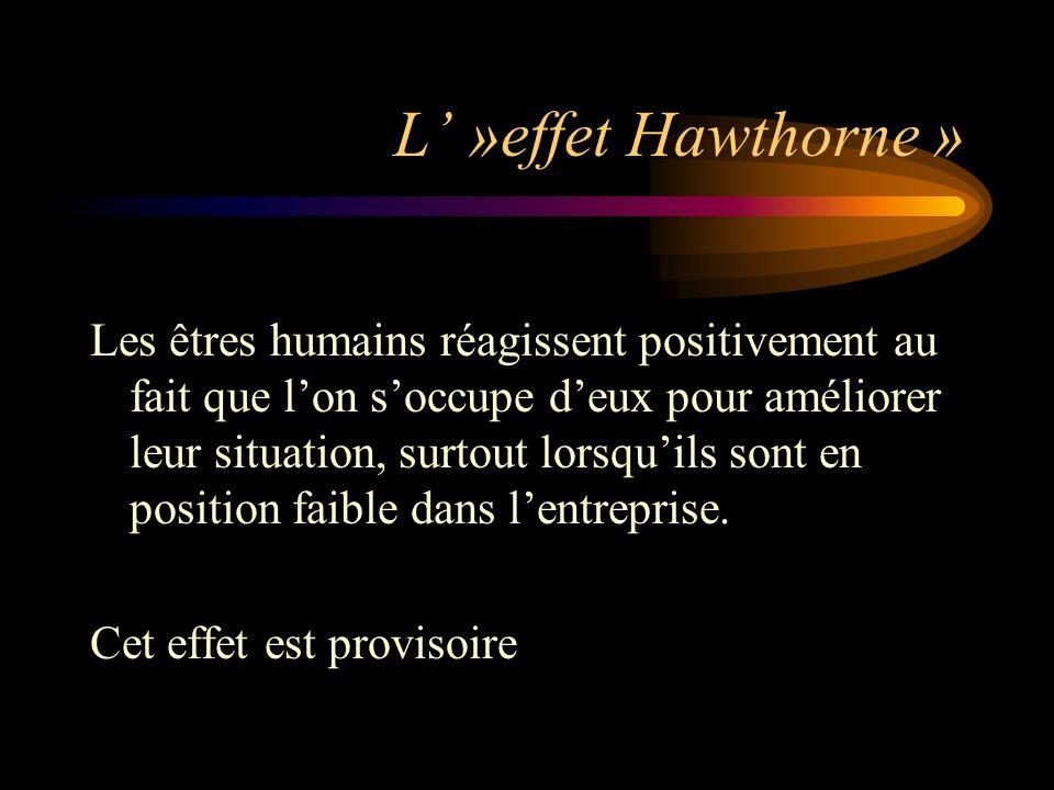 L »effet Hawthorne » Les êtres humains réagissent positivement au fait que lon soccupe deux pour améliorer leur situation, surtout lorsquils sont en p