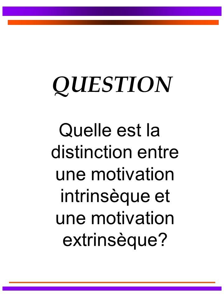 QUESTION Quelle est la distinction entre une motivation intrinsèque et une motivation extrinsèque?