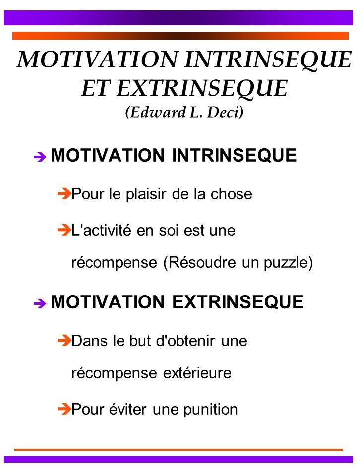 MOTIVATION INTRINSEQUE ET EXTRINSEQUE (Edward L. Deci) è MOTIVATION INTRINSEQUE èPour le plaisir de la chose èL'activité en soi est une récompense (Ré